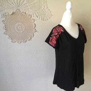 Soft Surroundings rose embroidered shoulder tee